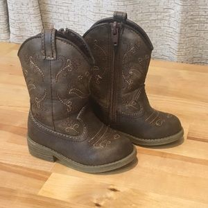 Cat and Jack Boys Brown Cowboy Boots Size 5